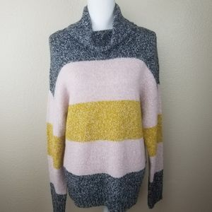 Olivia Sky Gray Pink Gold Striped Cowl Sweater S